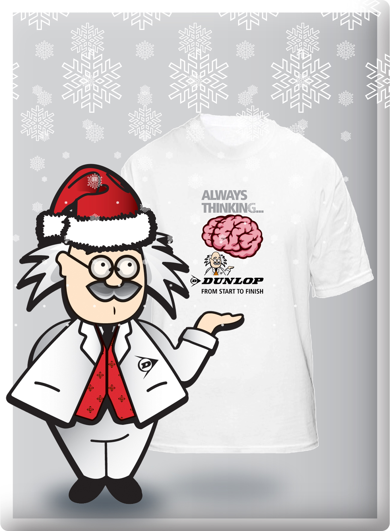 Professor Dunlop shares some festive cheer by giving away promotional BRAINBOX t-shirts to the next 100 people to enter the Dunlop Adhesives competition.