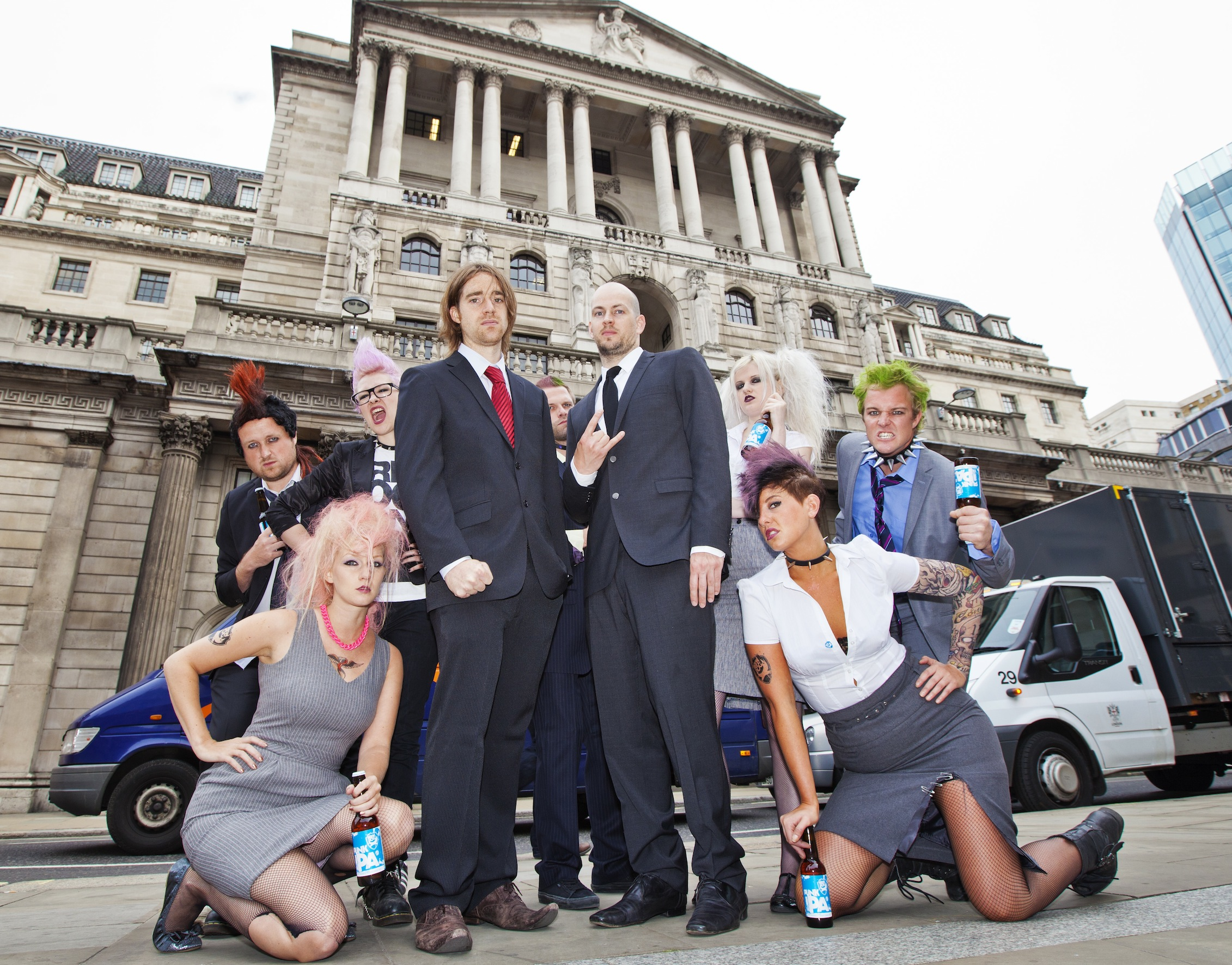 BrewDog co-founders Martin Dickie (l) and James Watt launch unique share option outside the Bank of England