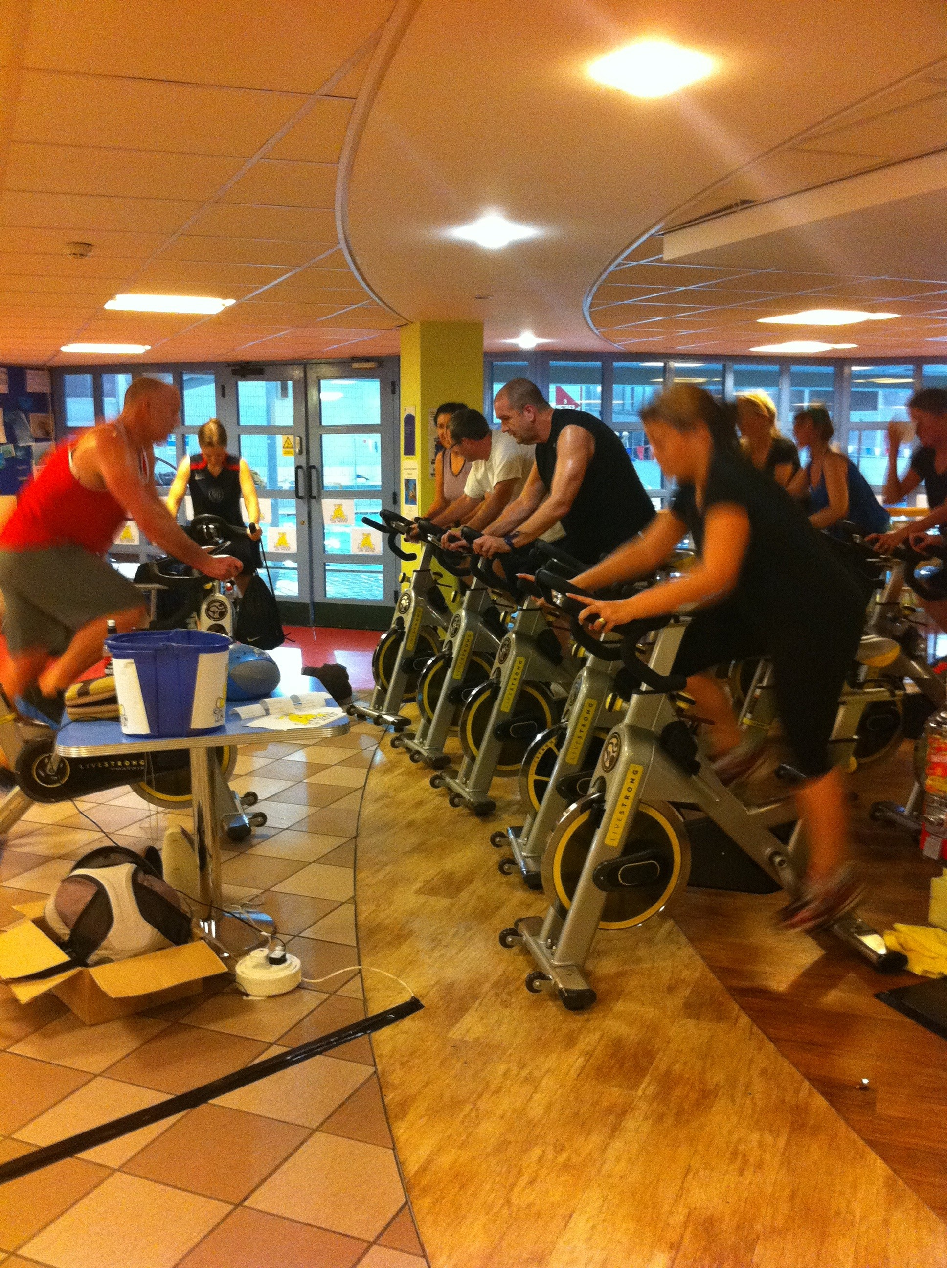 Staff and members at Dunstable took part in a spinathon, tombola, a sponsored swim and a cake sale