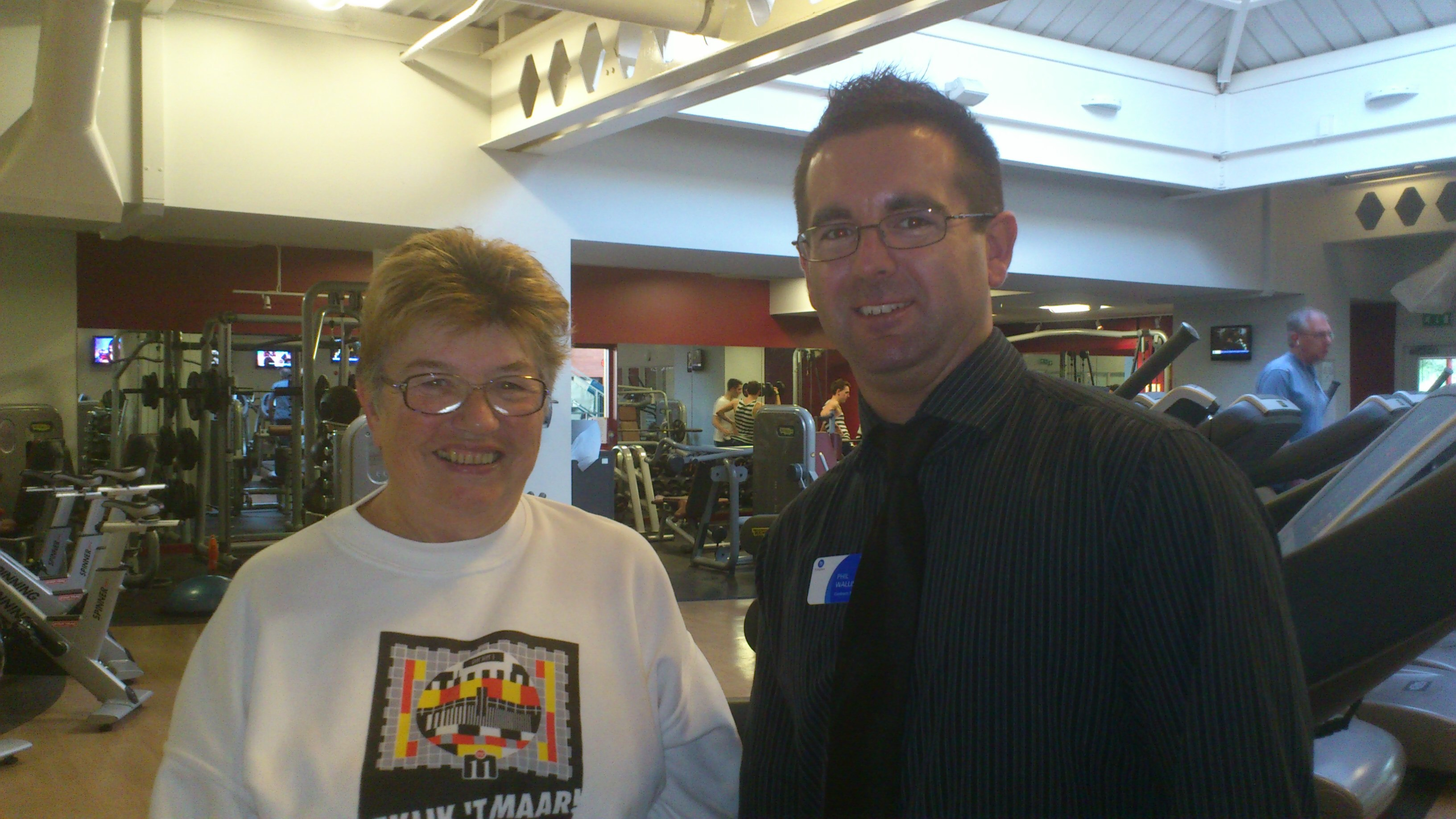 Claire Urry and Phil Walls, Contract Manager at Blackwater Leisure Centre