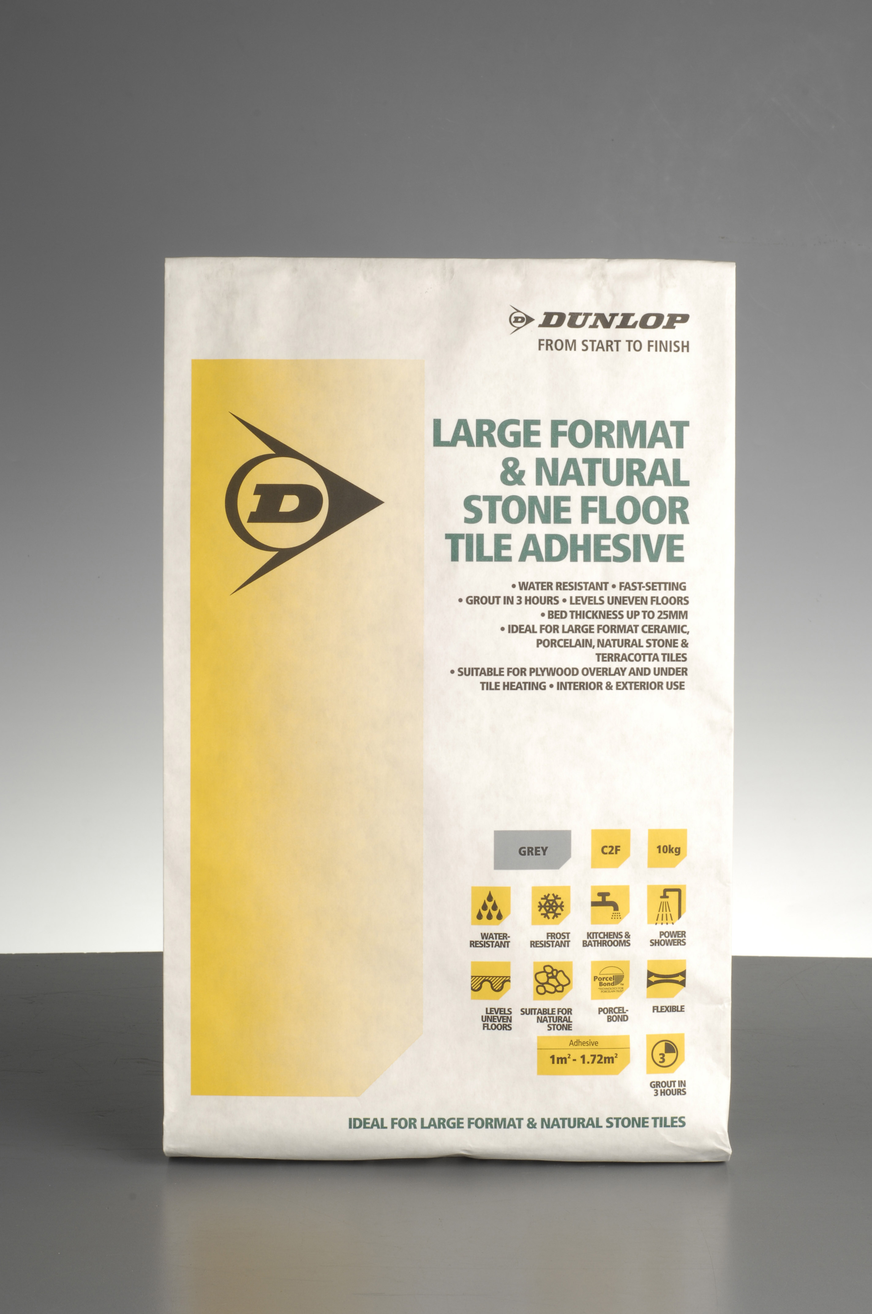 Dunlop's Large Format and Natural Stone Adhesive incorporates porcel bond technology that helps bond the tiles to the adhesive.