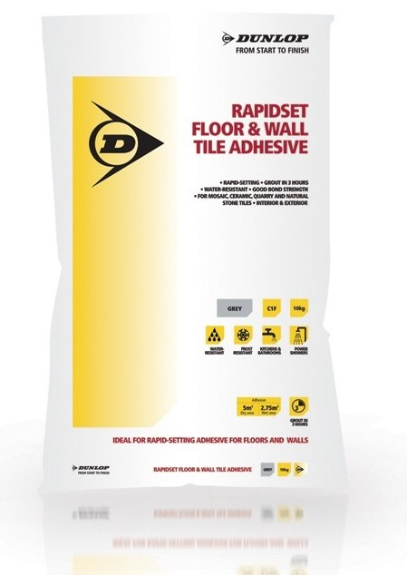 When mixed with water, Dunlop's Rapidset Floor & Wall Tile Adhesive can be used for a wide range of different tiles, including ceramic floor and wall tiles, vitrified tiles and mosaics, quarry tiles, brick slips, and some natural stone.