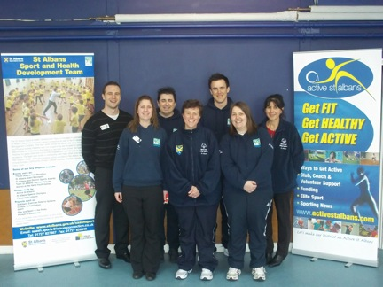 From left to right; Matt Charles, Sport & Health Development Manager; Jane Roskilly Senior Sport Development Officer; Steve Howard, Health Development Officer; Susi Williams, Special Olympics Coordinator; Mark Caldwell, Projects & Events Officer; Beth Tyler, Sport Development Officer; Salpi Roberts, Disability Coordinator.