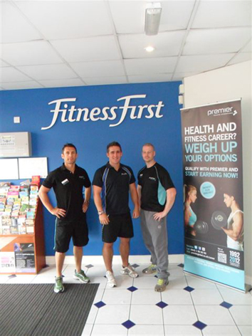 Premier Trainer Chris Duncan (left) & Ben Rouhgton (right) with Fitness First club manager Tim Andrews (middle) at the Birmingham Central venue