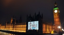 Bare cheek: Giant image of naked BrewDog founders projected onto Parliament to highlight 'craft beer revolution' in UK