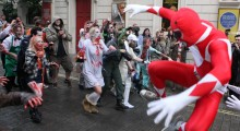 Flash of the Titans: Two worlds collide in Power Ranger vs Zombie flashmob prank.
