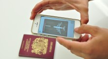 A plane takes off from the passport