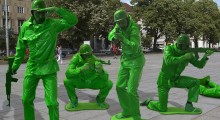 Green plastic toy soldier army