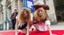 Zombies on the red carpet at London Fashion Week  - Morph Costume Co. Photo - Paul Clarke