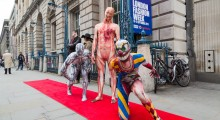 Catwalk of horror at London Fashion Week - Morphsuits. Photo - Paul Clarke