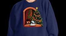 Snowing Snowglobe Christmas Sweater - black background