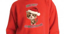 Caroling Kitty Ugly Christmas Sweater - white background
