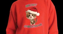 Caroling Kitty Ugly Christmas Sweater - black background