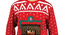 Knit Crackling Fireplace Ugly Christmas Sweater - white background