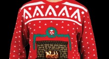 Knit Crackling Fireplace Ugly Christmas Sweater - black background