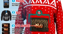 Knit Crackling Fireplace Ugly Christmas Sweater - 3 steps activation