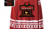 Knit Crackling Fireplace Ugly Christmas Sweater - phone shots on white