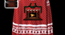 Knit Crackling Fireplace Ugly Christmas Sweater - phone shots on black