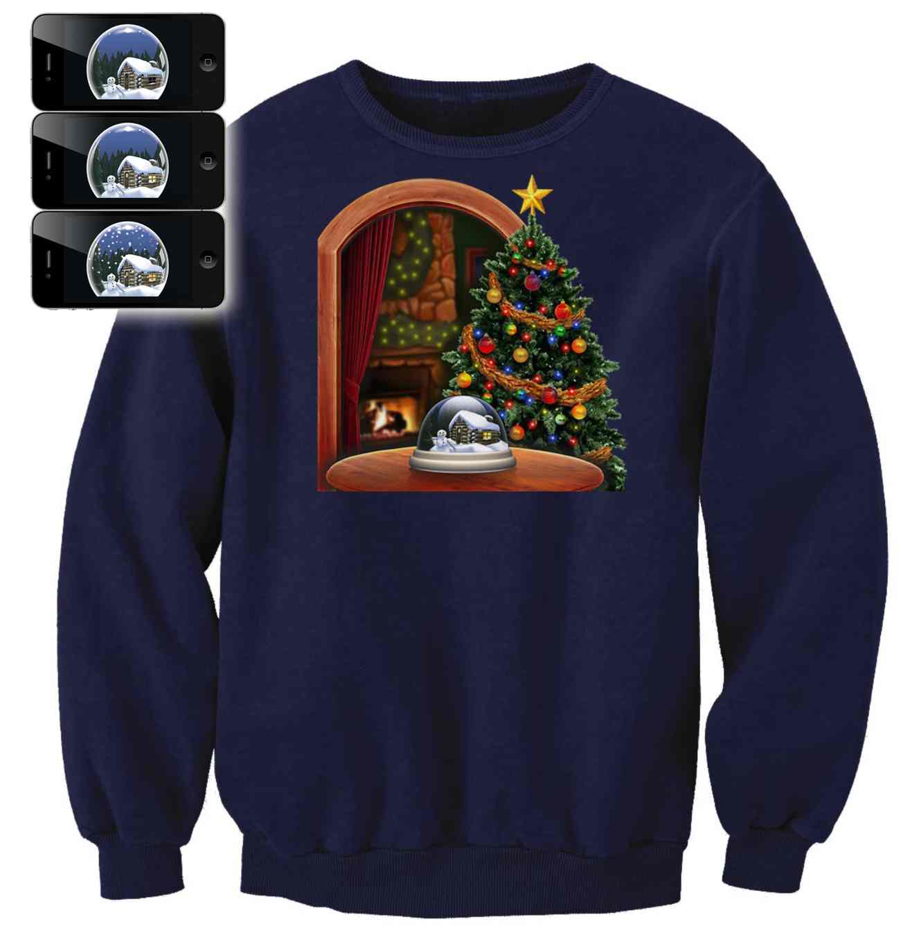 snowing snowglobe christmas sweater