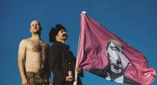 BrewDog founders fly the  flag for the launch of HMNIV, complete with an image of Vladimir Putin wearing make up.