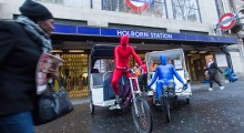Morphline Rickshaws outside of Holborn Station ready to transport commuters