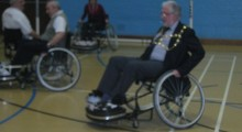 Mayor experiences fast and furious wheelchair football at Dunstable Leisure Centre