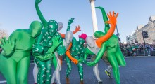 Morphsuits partying next to Nelson
