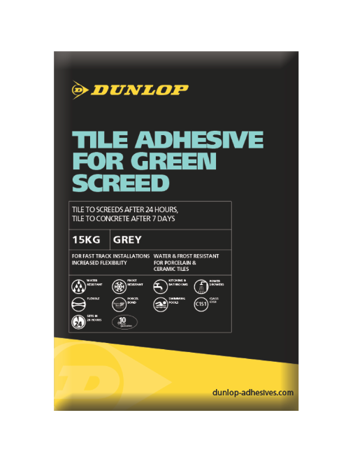 Dunlop's Tile Adhesive For Green Screed can save tradesmen up to 35 days