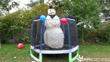 Scary snowman on a trampoline... of course.