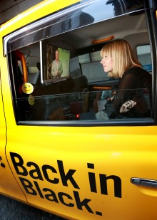 Gabriella Griffith seating in a Hailo cab enroute to Future London conference