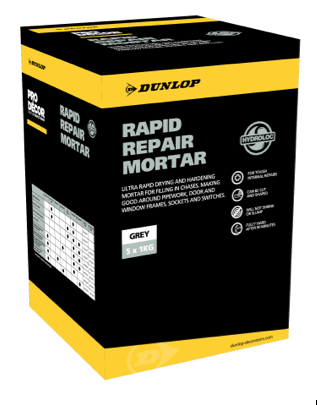 Dunlop's Rapid Repair Mortar dries in just 90 minutes.