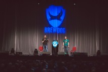 BrewDog co-founders James Watt and Martin Dickie on stage at the AGM