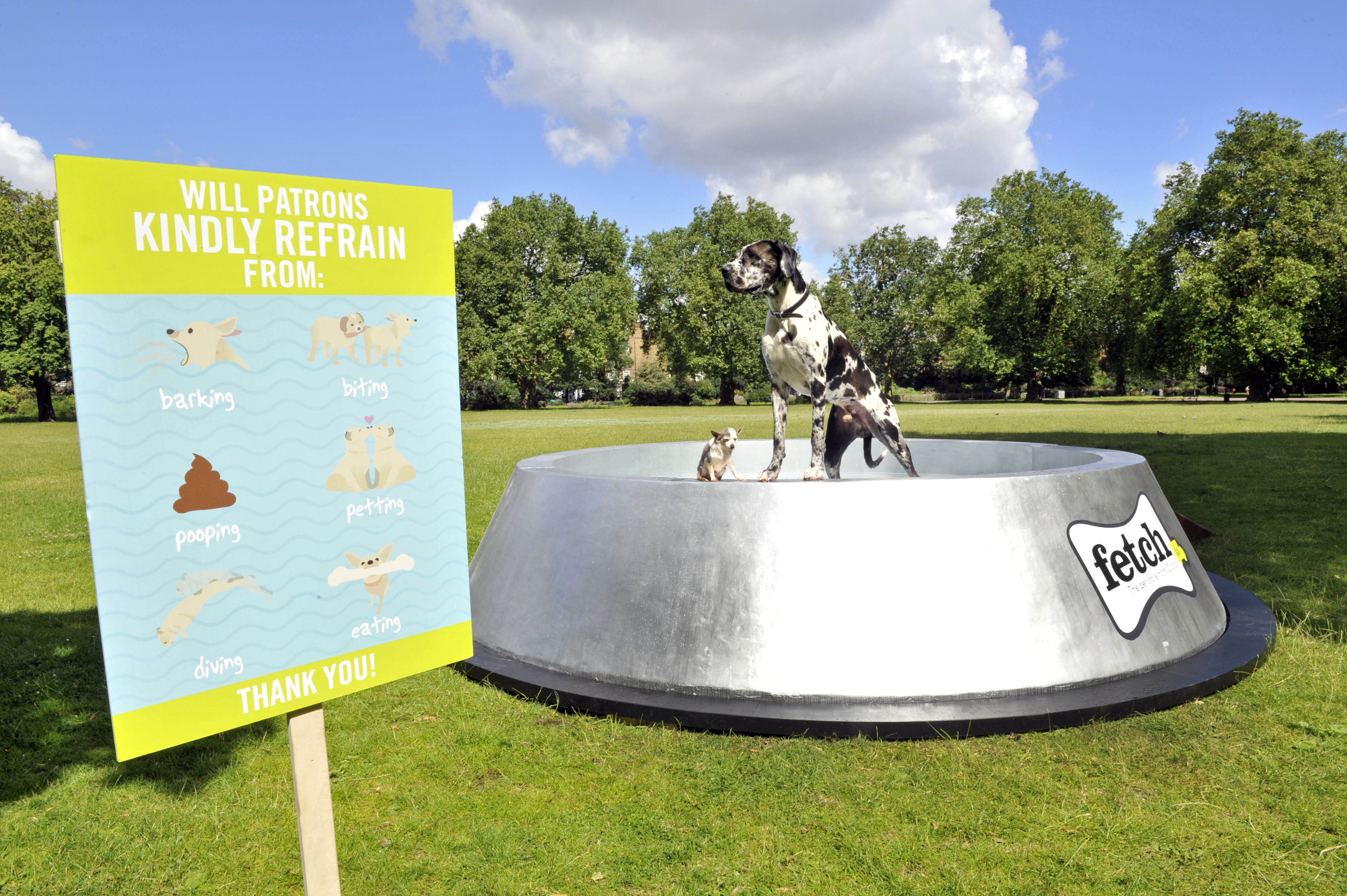 Fetch.co.uk, Ocado's online pet store, has built what could be the world's largest dog bowl in London's Kennington Park, in a bid to educate the country about keeping our dogs hydrated in the summer.  The giant dog bowl in London's Kennington Park, made by Fetch.co.uk, stretches 4.5m in diameter, stands at 1m tall and can hold up to 2000 litres of water, providing an ample thirst quencher for pooches this summer.  For more info fetch@manifest.london 0203 137 9270  This photo may only be used in for editorial reporting purposes for the contemporaneous illustration of events, things or the people in the image or facts mentioned in the caption. Re-use of the picture may require further permission from the copyright holder. Photo credit should read: Adrian Brooks/Imagewise