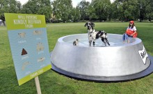 The giant dog bowl is being unveiled today at Kennington Park in South London