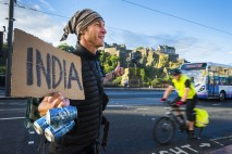 Manny Marshall is making his way from Edinburgh to Delhi, India