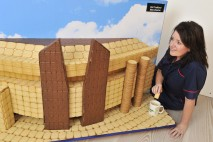 Macmillan builds UK skyline from biscuits to celebrate the World's Biggest Coffee Morning