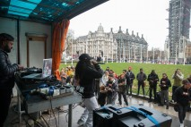 *** FREE FOR EDITORIAL USE *** Independent youth campaigners, Rize Up host guerilla gig on Parliament Square with Lady Leshurr to encourage marganilised young people to register to vote by 26th November deadline.